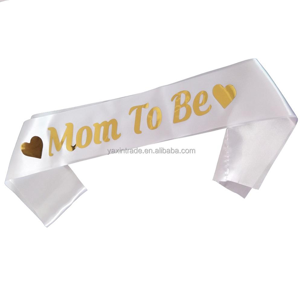 EG/_ MUMMY TO BE BABY BOY GIRL SHOWER PERSONALISED PARTY SASHES NEWBORN RIBBON GR