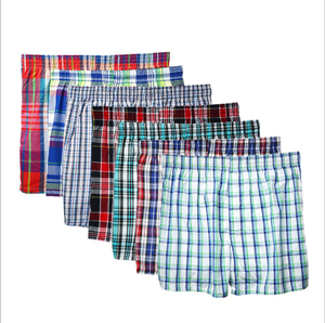 Classic Plaid Men's Boxers Cotton Underwear Elastic Waistband Shorts Loose Arrow Panties Boxer