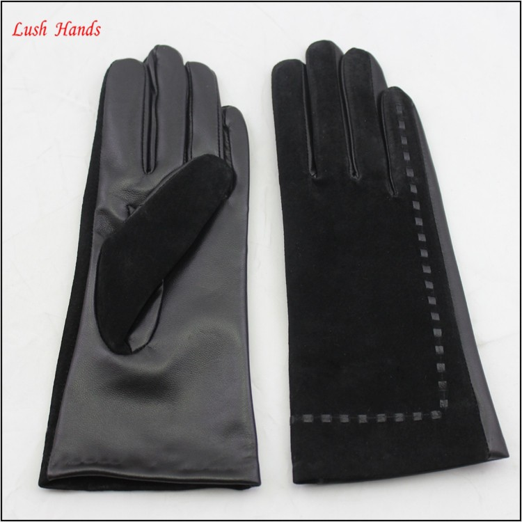 ladies winter suede and sheepskin leather hand gloves