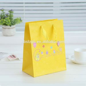 yellow luxury and cute drawstrings Jeweled Broach Amethyst Large paper present bag for kids'goods