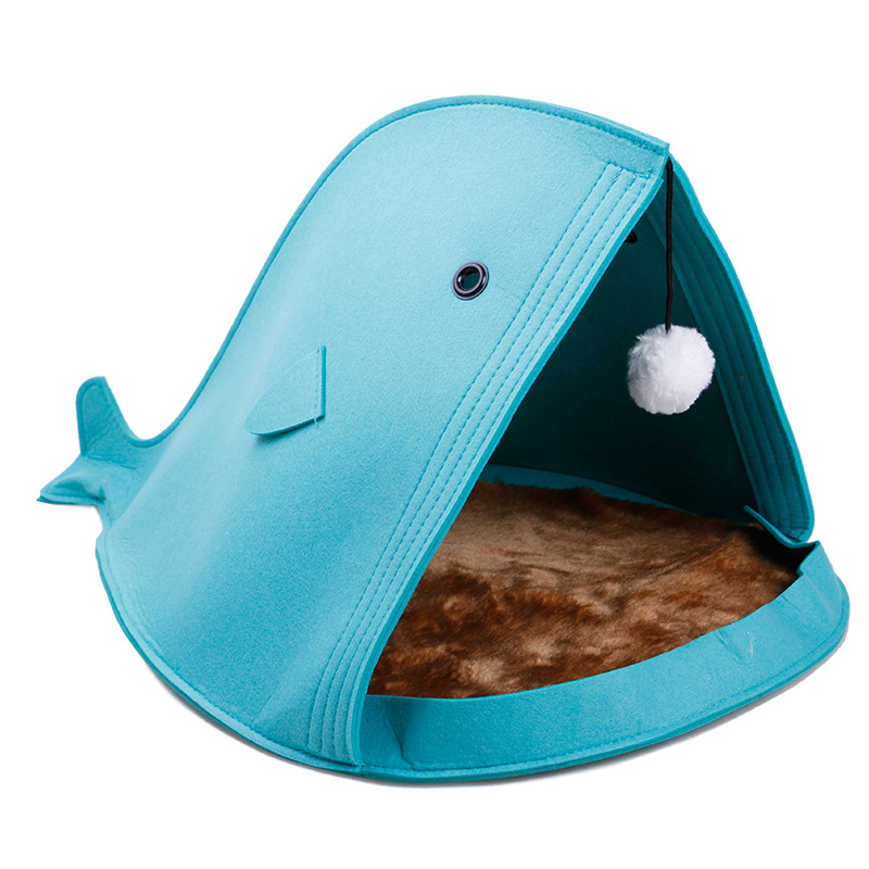 Creation Core Unique Shark-shaped Felt Pet Cat Bed Nest with Mat Fur Ball