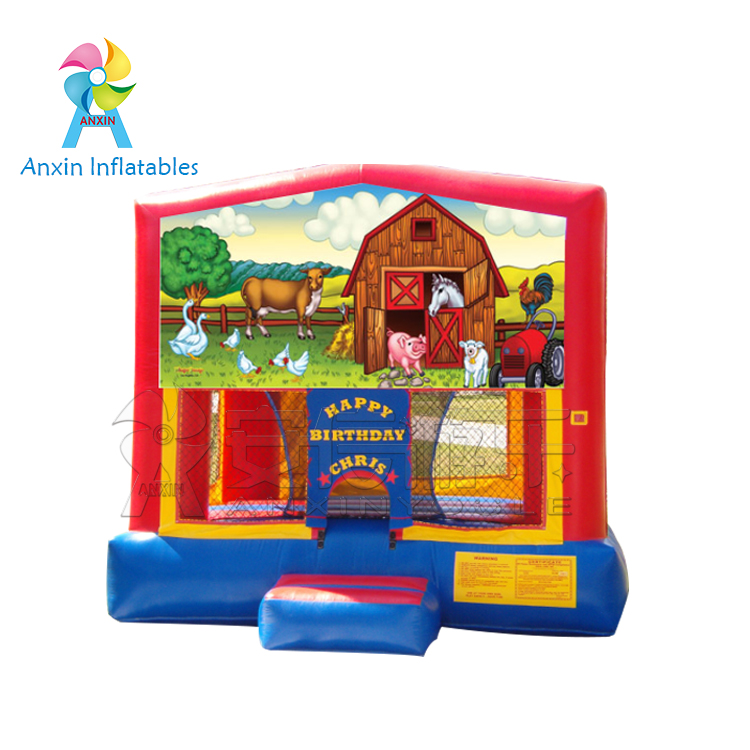 Commercial kids small Inflatable farm bounce house with free blower
