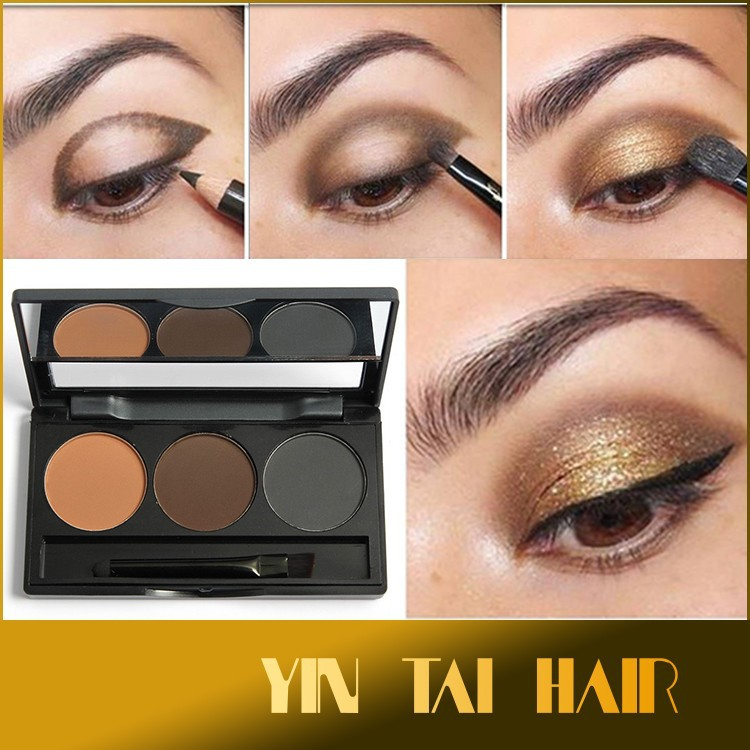 Eye Brows Powder Palette 3 Shade in a Palette Waterproof Eyebrow Powder With Mirror and Eyebrow Brushes inside