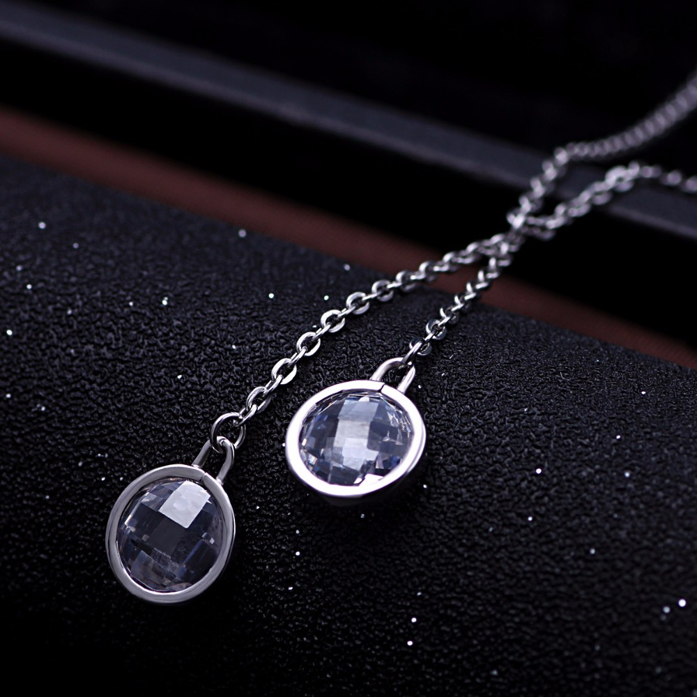 Long silver necklace with two stone pendant charm necklace designs