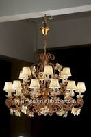 Luxury antique crystal&flower lampshade chandelier,residential lighting,pendent lamp,copper gold plated(B50329)