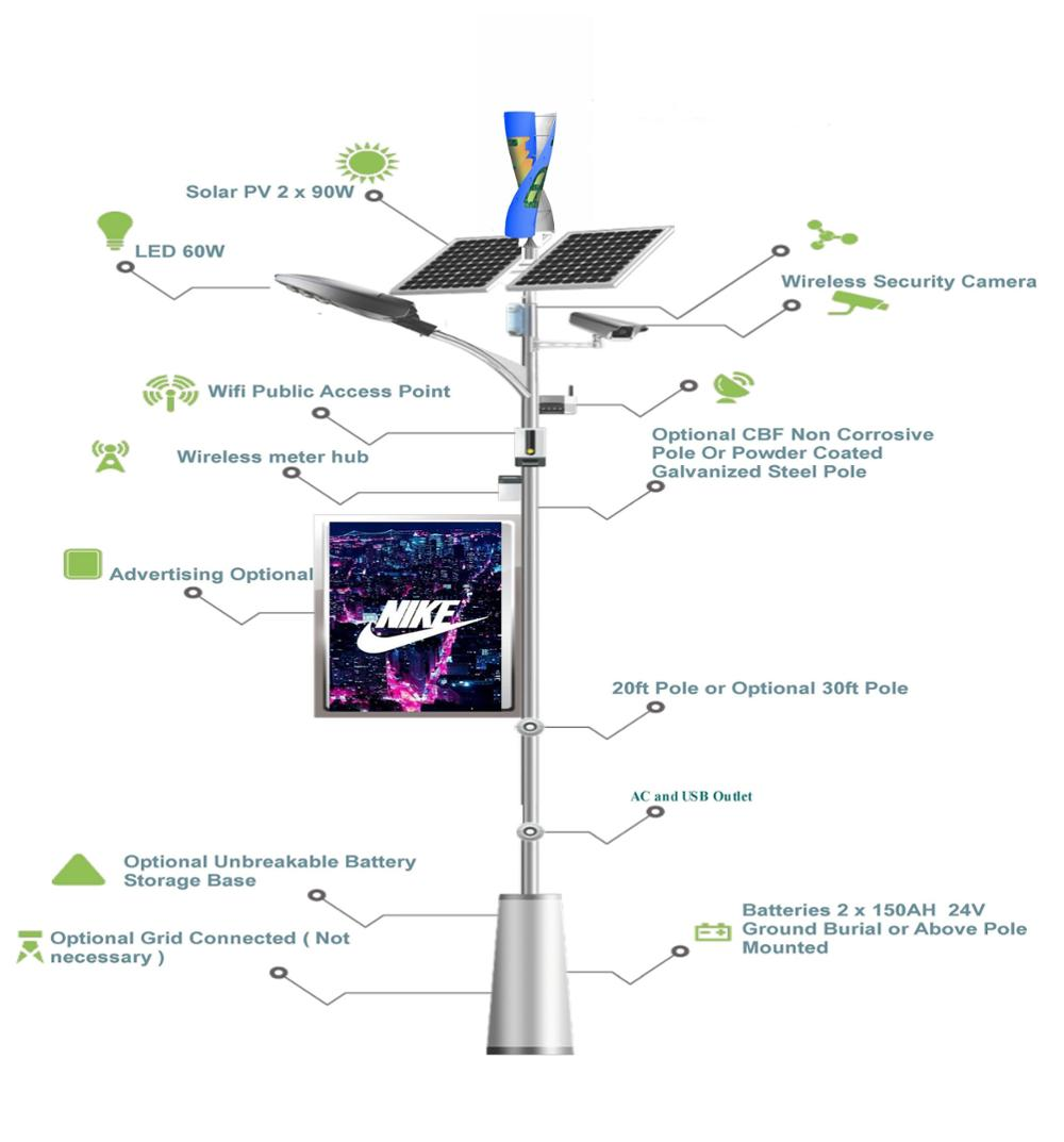 solar street lighting/wind turbine led street lighting