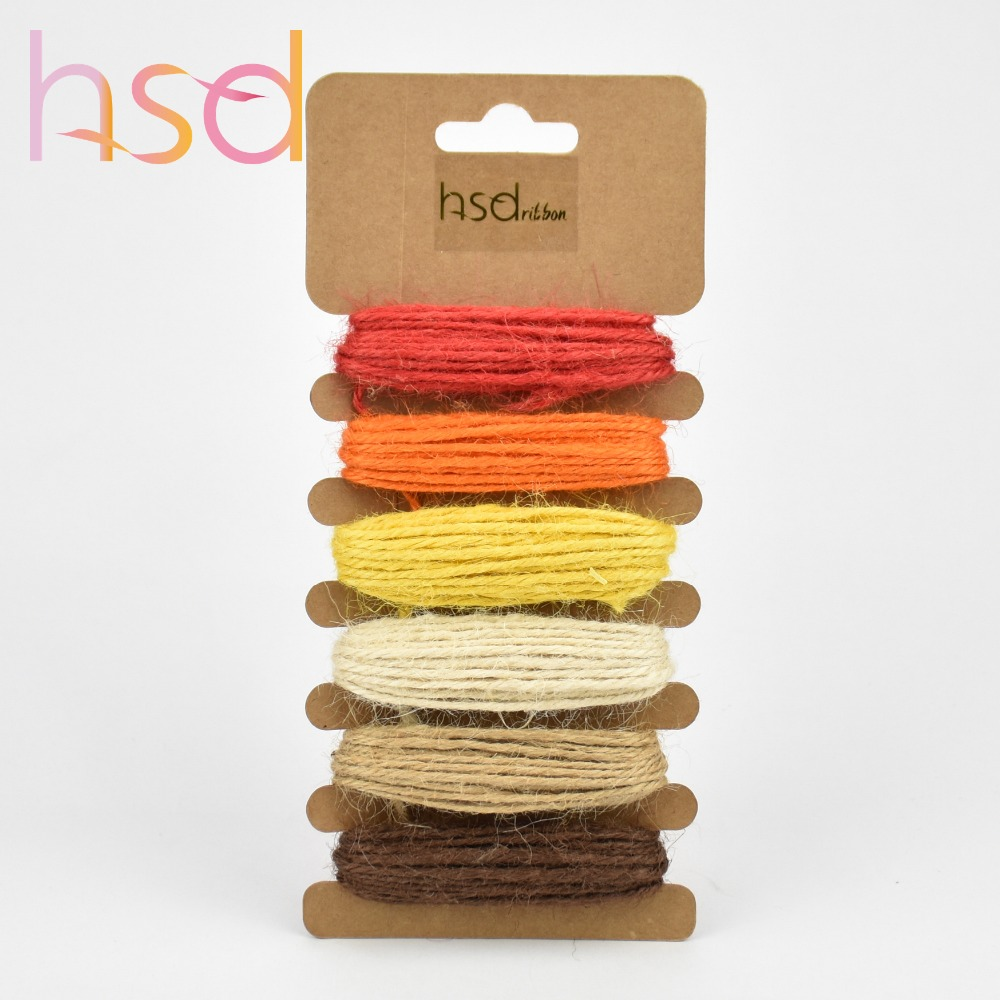 Wholesale 2MM DIY Colorful Twine Waxed Cord Hemp Jute Rope for Packing