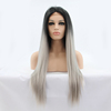 "24"" Long Ombre Tone Dark Root Straight Synthetic Lace Wig Fashion Ladies Heat Resistant Synthetic Lace Wig"