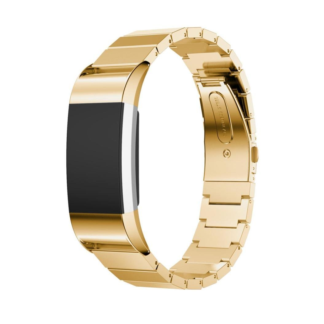 Elevin(TM) Genuine Stainless Steel Bracelet Smart Watch Band Strap for Fitbit Charge 2 (Gold)