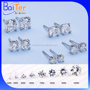 3 12mm Clic 925 Sterling Silver Fake Diamond Stud Earring For Women Round