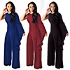 Solid One Shoulder Long Sleeve Wide Leg Bodycon Jumpsuits For Women
