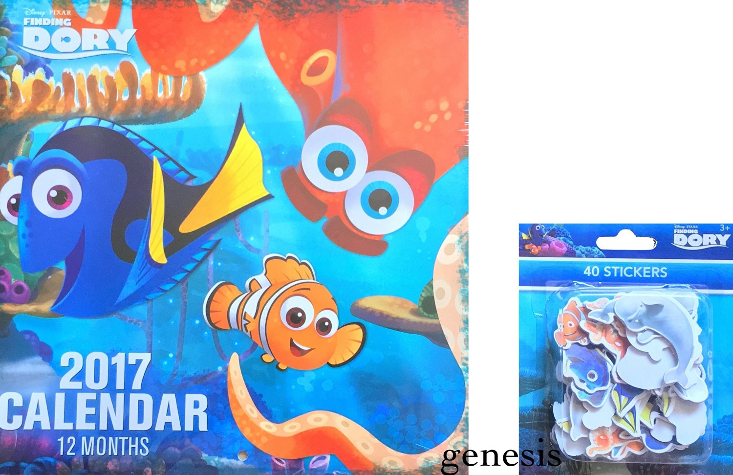 Disney Finding Dory Children's 2017 Calendar Room Decor With 40 Stickers To Mark Special Dates