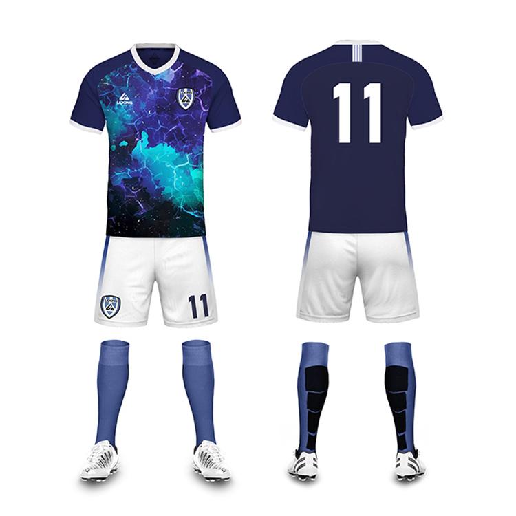 Haute qualité bas prix Guangzhou kits de football dernières conceptions de maillot de football sec fit sport uniforme pour les enfants