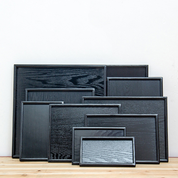OEM logo black rectangle painted wooden trays tea set wholesale