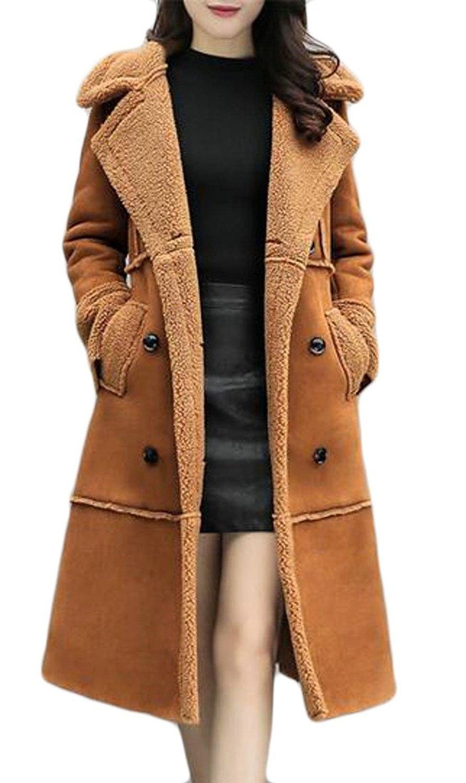 YUNY Women's Winter Warm Faux Suede Jacket With Faux Fur Collar
