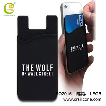 adhesive cell phone credit card holder custom logo 3m sticker silicone mobile phone card holder - Custom Adhesive Cell Phone Card Holder