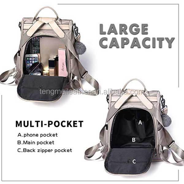 7e1b20f08c7d Women Backpack Purse Waterproof Nylon Anti-theft Rucksack Lightweight  School Shoulder Bag Chic College Backpack