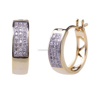 925 sterling silver diamond hoop earring with 18k gold plated