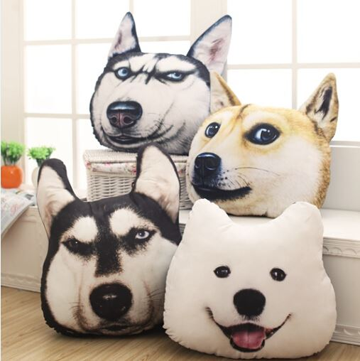 New Hot 3D Samoyed Husky Dog Plush Toys Dolls Stuffed Animal Pillow Sofa Car Decorative Creative Birthday Gift YZT0091