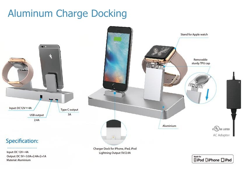 MFi Charging Dock For iPhone iPad and Stand For Apple Watch with UL Approved Adapter