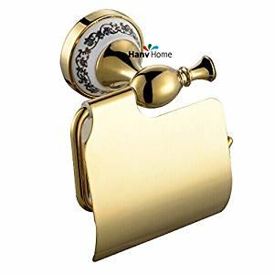 ZWBD PVD-Ti Golden luxury ceramics & brass paper box roll holder toilet paper holder tissue box Bathroom Accessories