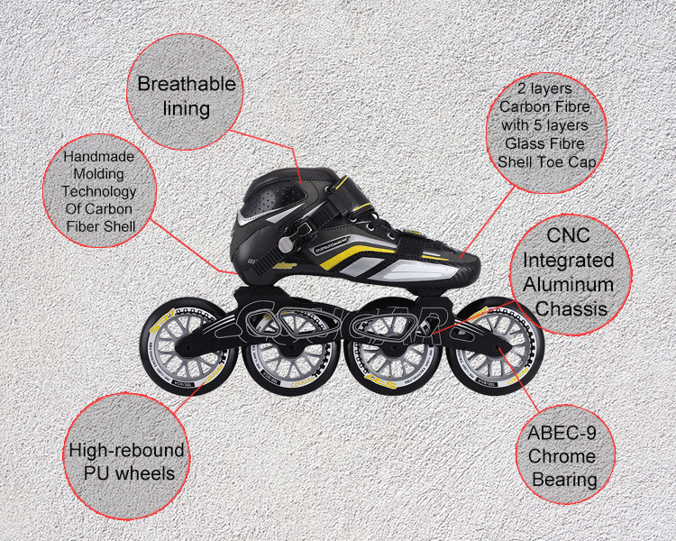 Cougar professional inline speed skates with different colors available