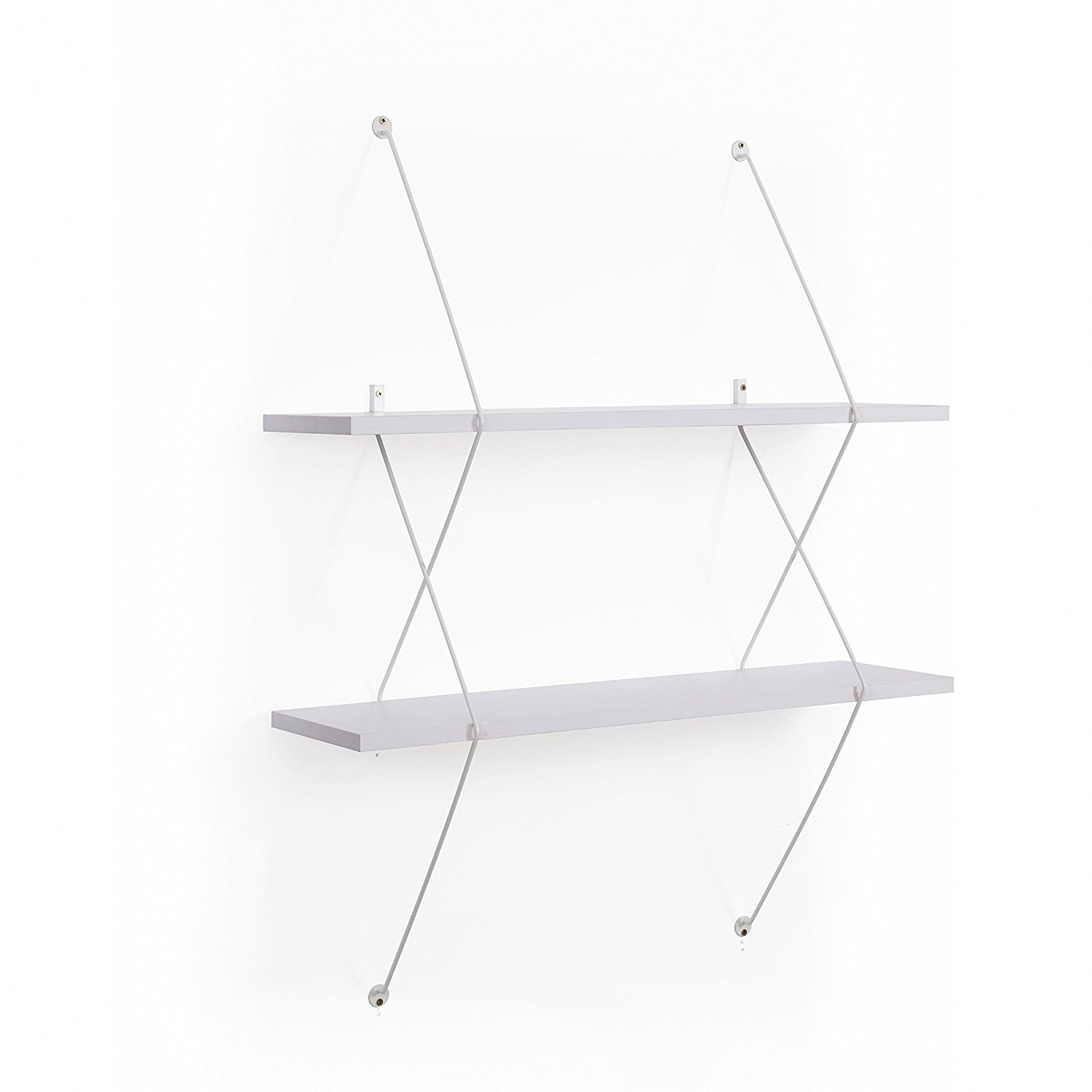 Danya B 2-Tier Floating Wall Mount Shelf with White Wire Brackets – Display Books, Décor, Picture Frames or Collectables – Decorative Modern Home Décor