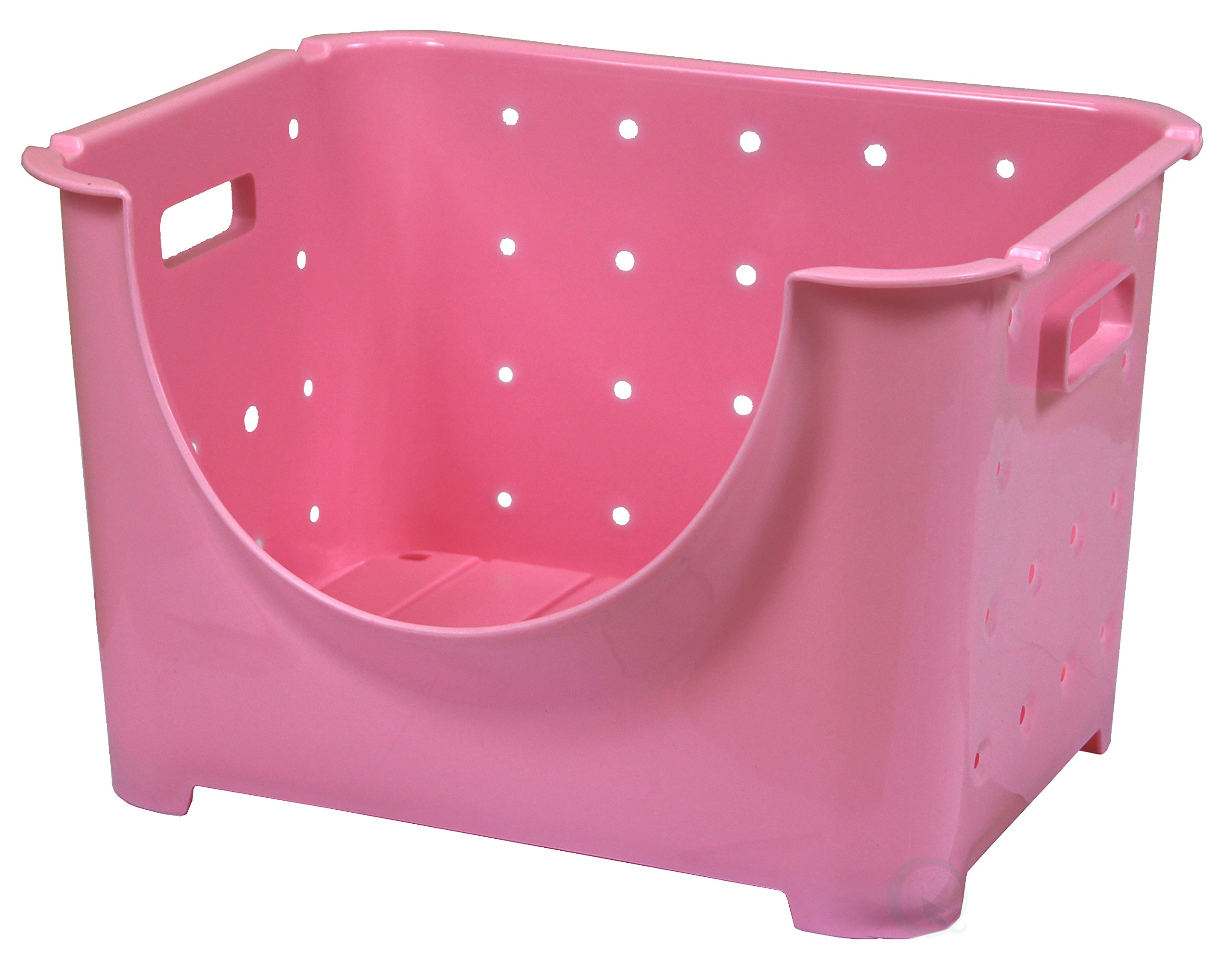 Basicwise Stackable Plastic Storage Container Stacking Bins, Pink