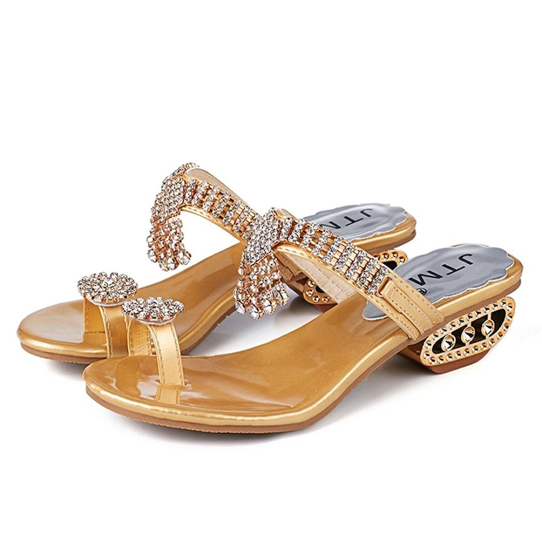 Sunbona Beach Slippers for Women,Ladies Summer Fashion Rhinestone Anti-Slip Flip Flops Wedges Sandals Indoor Outdoor Shoes