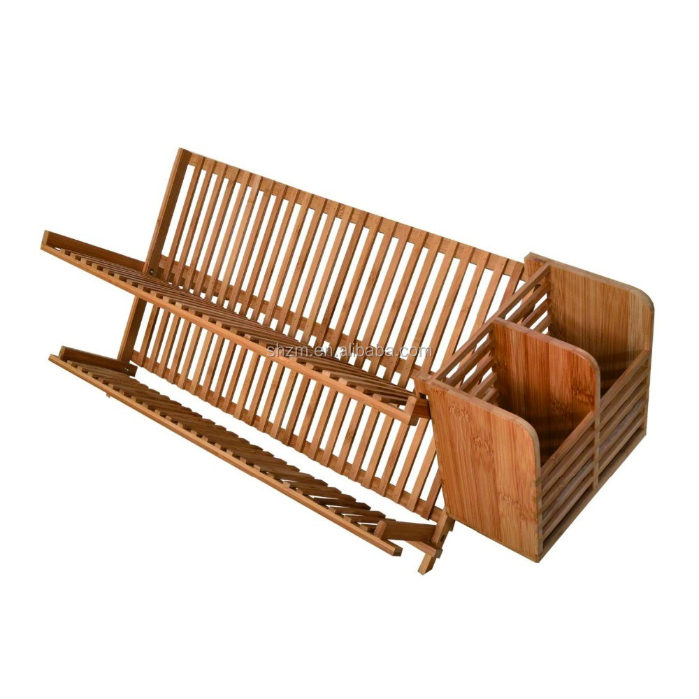 2 Tier Bamboo Dish Rack Collapsible Kitchen Cup Drainer With