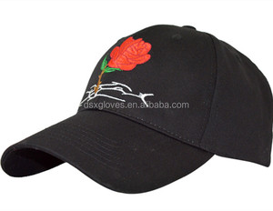 Custom 6panels structured red rose embroidery logo dad cap,high quality 100%cotton black dad golf cap