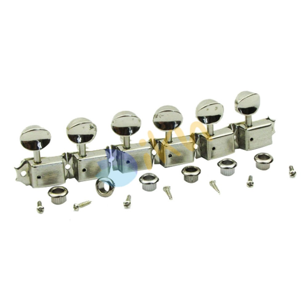 new 6 in line nickel vintage electric guitar tuning keys tuners machine heads in guitar parts. Black Bedroom Furniture Sets. Home Design Ideas