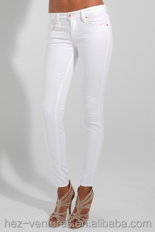 Ladies Genetic Denim White Jeans/low Rise Fit Skinny Stretchy ...