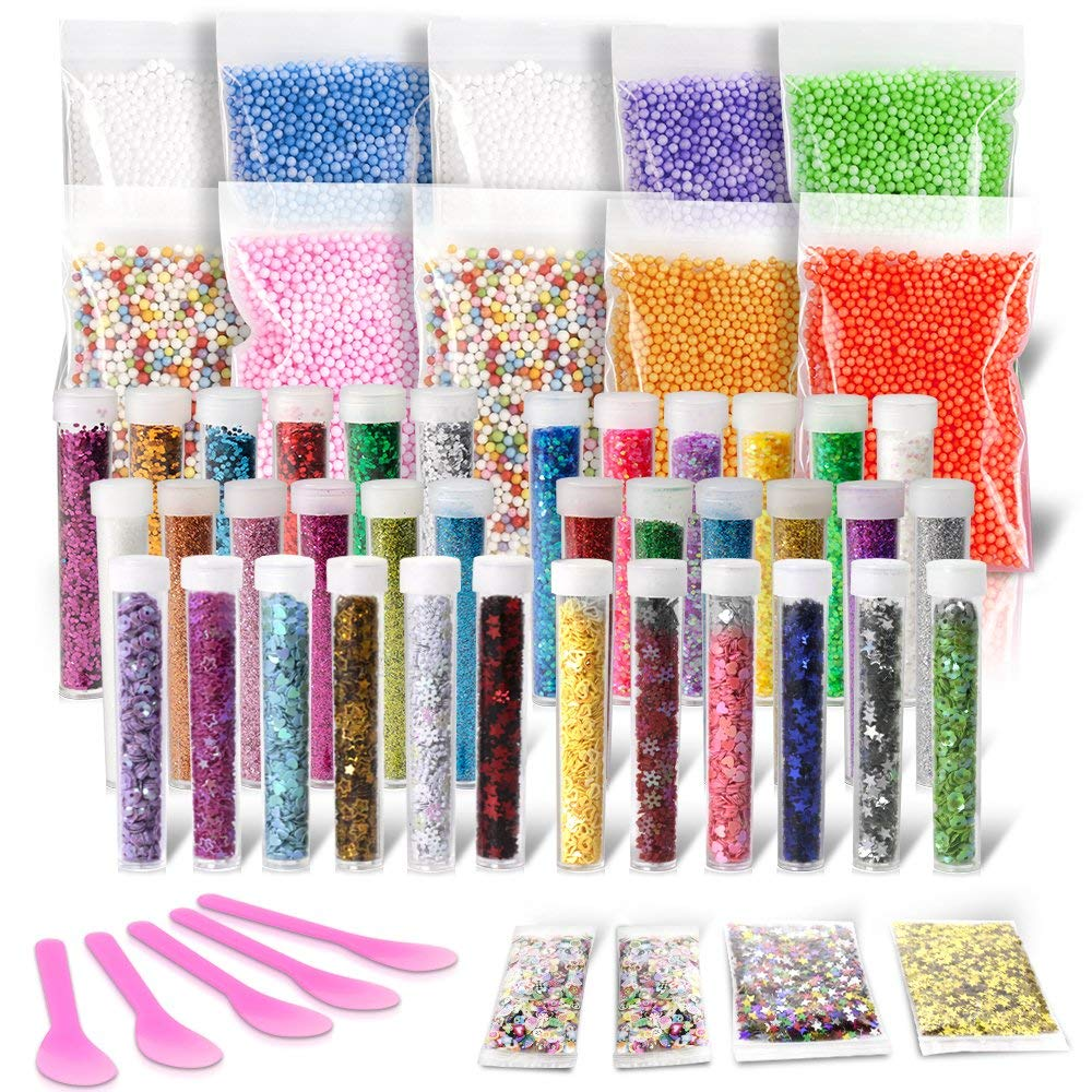 Slime Making Kits, Teenitor Slime Supplies Kit with 10 Pack Colorful Foam Balls & 36pcs Glitter Jars& 5pcs Slime Mixing Spoons & 2 Pack Confetti & 2 Pack Fruits Pieces Slime Making DIY Craft Materials