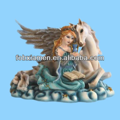 Poly Resin Figurine Fairy holding Hourglass for Kids
