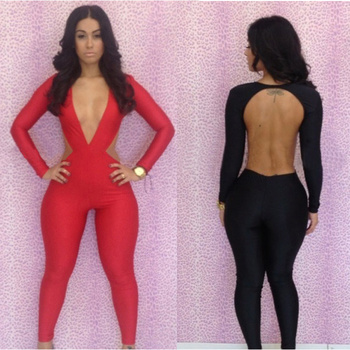 49b86c551ceb Walson Sexy Party Evening tight Backless Long Sleeve Club Bandage Bodycon  Jumpsuits 20027 Boutique boutique