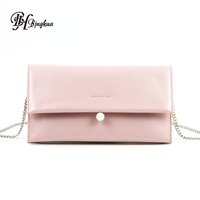 B-1441 New 2018 Fashion Leather Bag Party Evening Beaded Envelope Shoulder Clutch Bag With Chain Strap