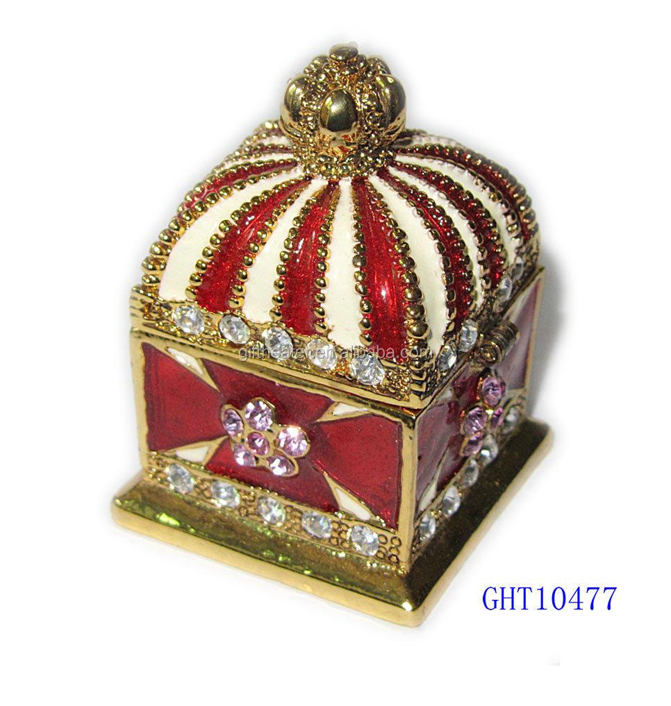 Wedding Favors Guest Gift Box Purple Ivory Crown Metal Crystal