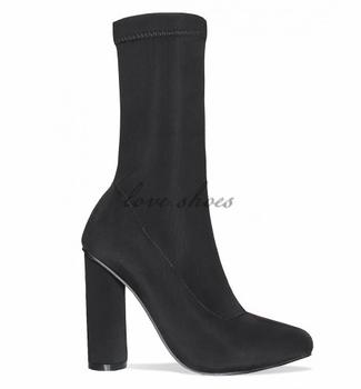 94e7221a1a09 Top Fashion Black Lycra women Chunky Heel Ankle Boots Lycra Sock Boot
