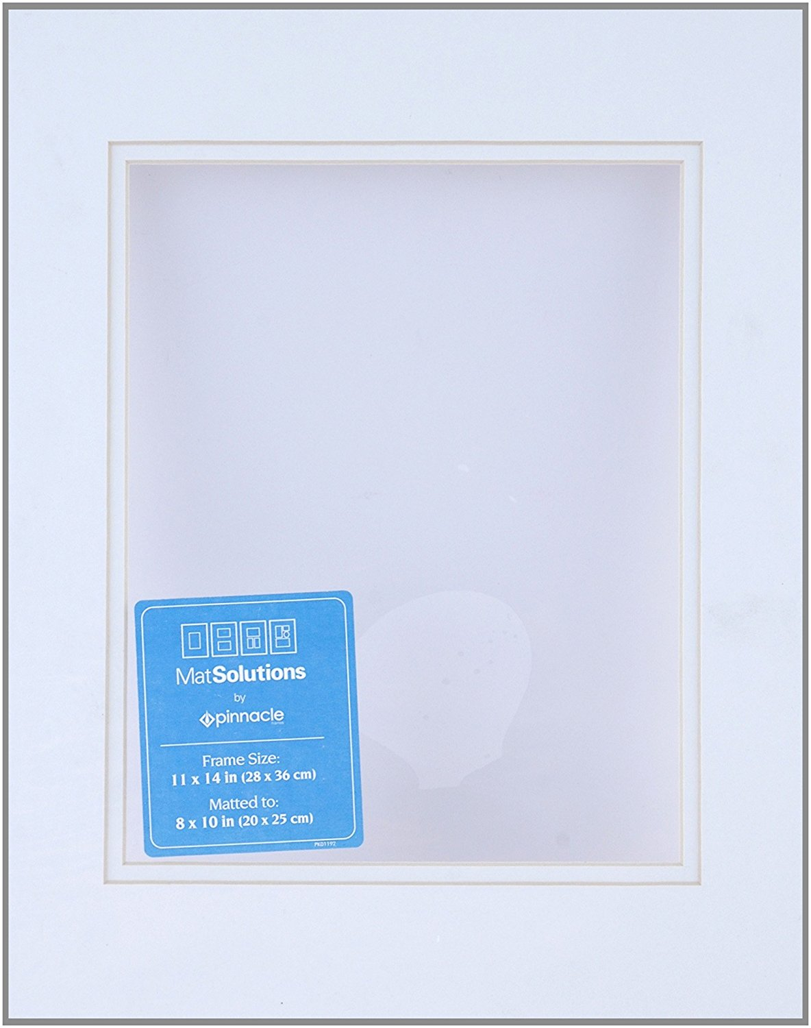 Gallery Solutions Custom Bevel Cut Double White Mat for 11x14 Picture Frame with 8x10 Opening