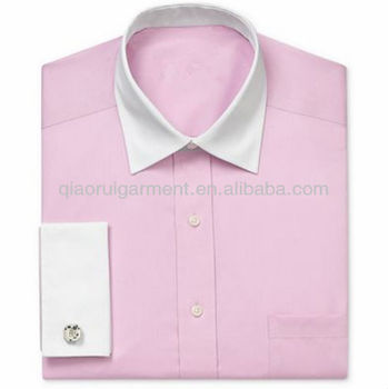Men 39 S White Collar And Cuff Pink French Shirt Buy Mens