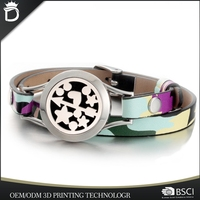Fashion Jewelry Essential Oil Leather Aromatherapy Diffuser Bracelet