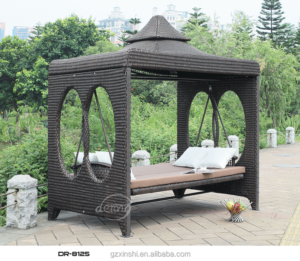 High Quality Four Seats Rattan Patio Swing With Canopy
