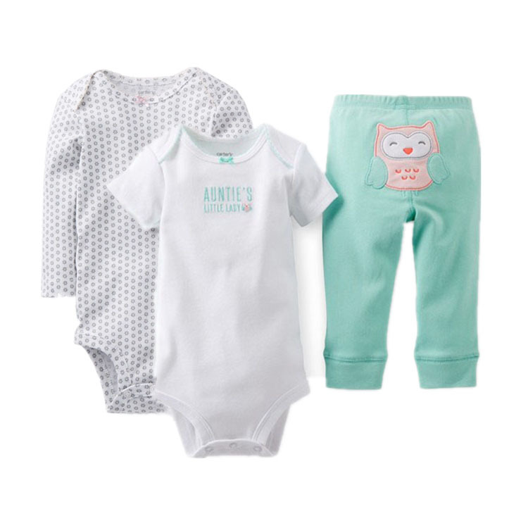 2015 New Arrival Carter's Baby Girls 3-Piece Bodysuit & Pant Set, Carters Baby  Cardigan Set, Baby Summer&Spring Suit, Stock