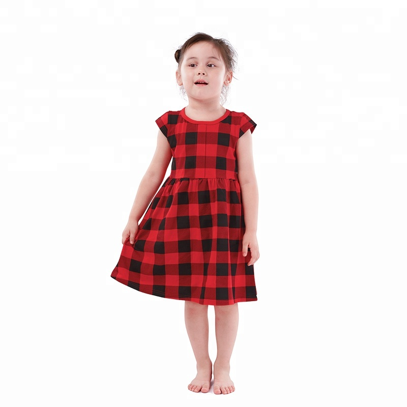Red and Black Plaid Sleeveless Girl Dresses Wholesale Baby Cotton Dresses