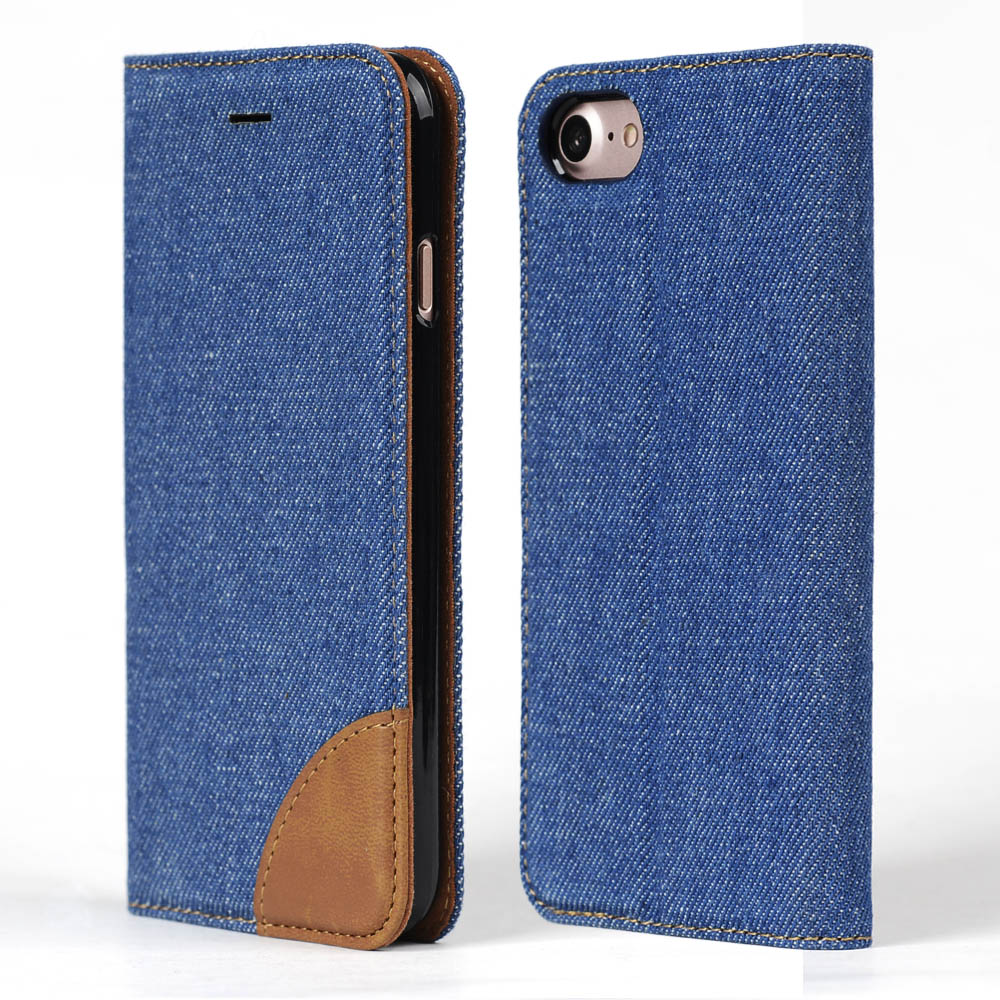 Denim Cuoio Smartphone Slot Per Schede Custodia a Libro per iPhone 7