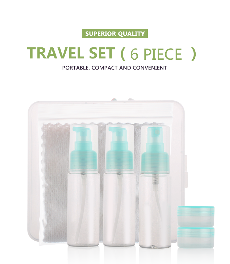 Superior quality 6pcs 100ml*3 10g*2 Custom Color travel beauty kit travel bottle set