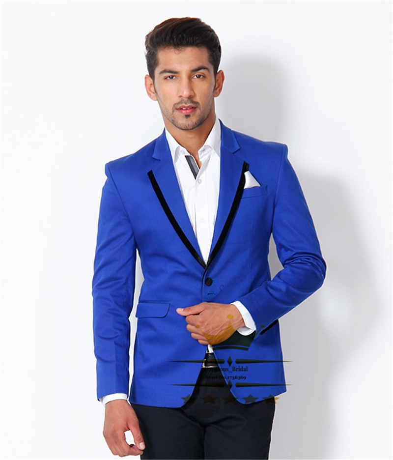 Buy Custom Made Royal Blue Suit With Black Pants Slim Fit Wedding ...
