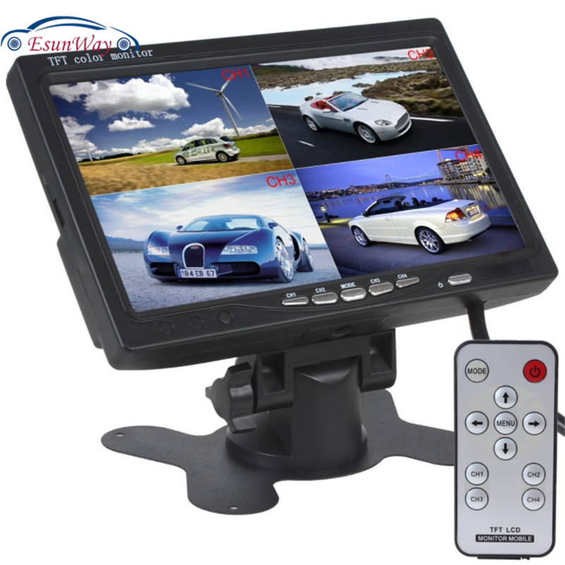 DC12V-24V 7 Inch 4 Split Quad LCD Screen Display 4 Channel Color Rear View Monitor