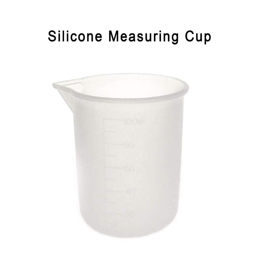 Silicone Measuring Cup, DyAiPet 4Pcs 100ml Measuring Cup Silicone Mold, DIY Epoxy Resin Glue Tools Cups with A Scale